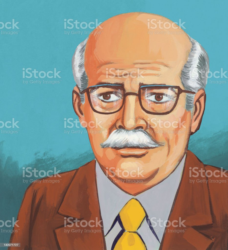 Older Man in Glasses royalty-free stock vector art