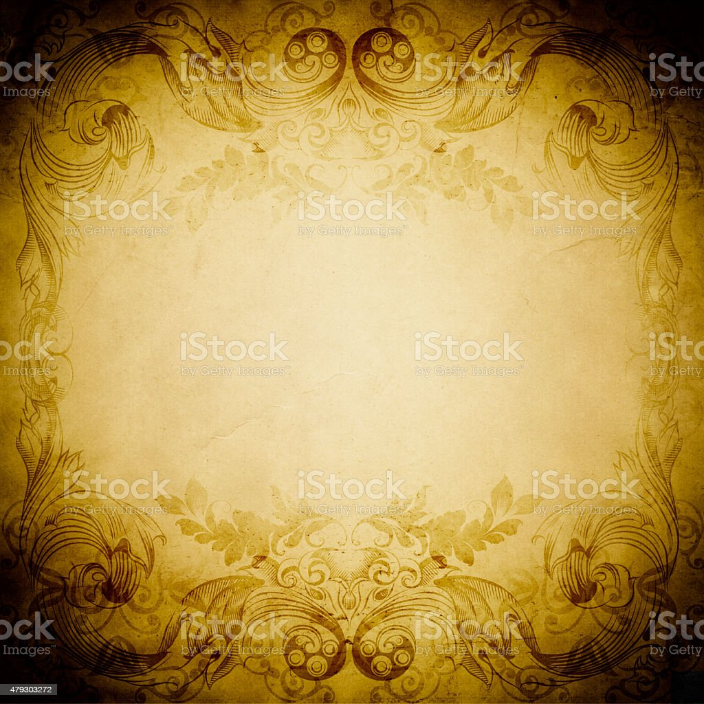 Old-fashioned frame. Grunge paper background. vector art illustration