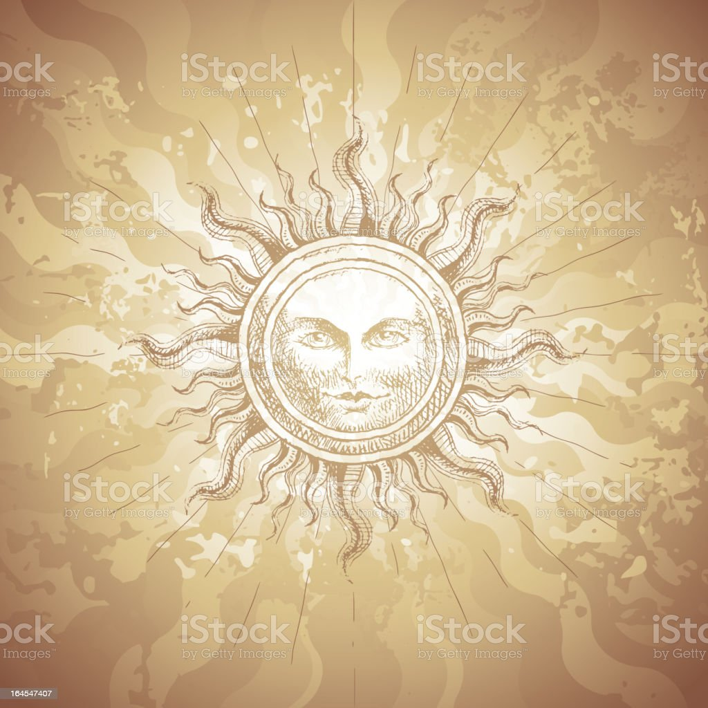 Old-fashioned sun decoration royalty-free stock vector art