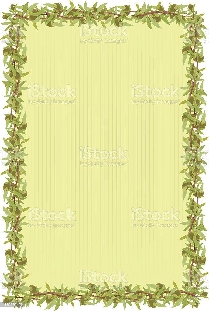 olive branch frame vector art illustration