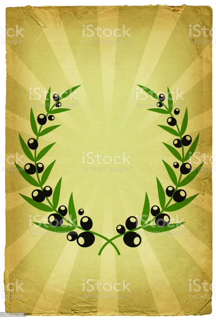 olive branch wreath on old paper Background royalty-free stock vector art