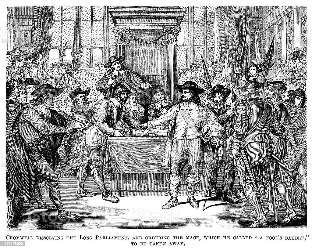 Oliver Cromwell dissolving Parliament and removing the Mace (Victorian woodcut) royalty-free stock vector art