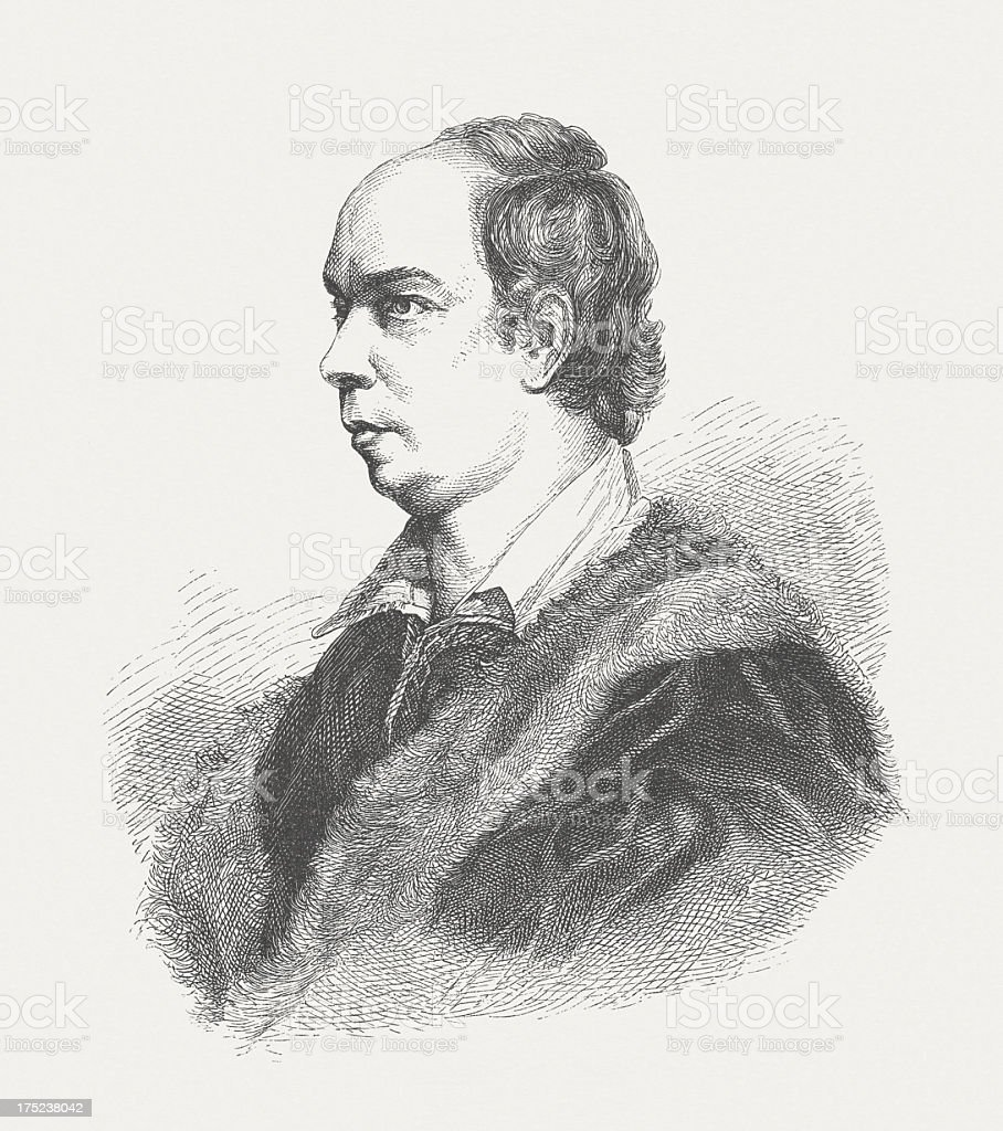 Oliver Goldsmith (1730-1774), Anglo-Irish novelist, wood engraving, published in 1882 royalty-free stock vector art