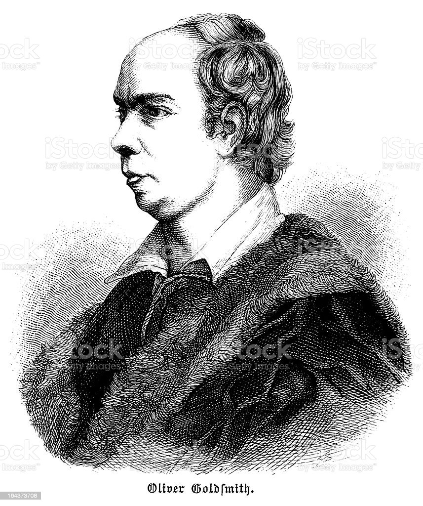 Oliver Goldsmith - Antique Engraved Portrait royalty-free stock vector art