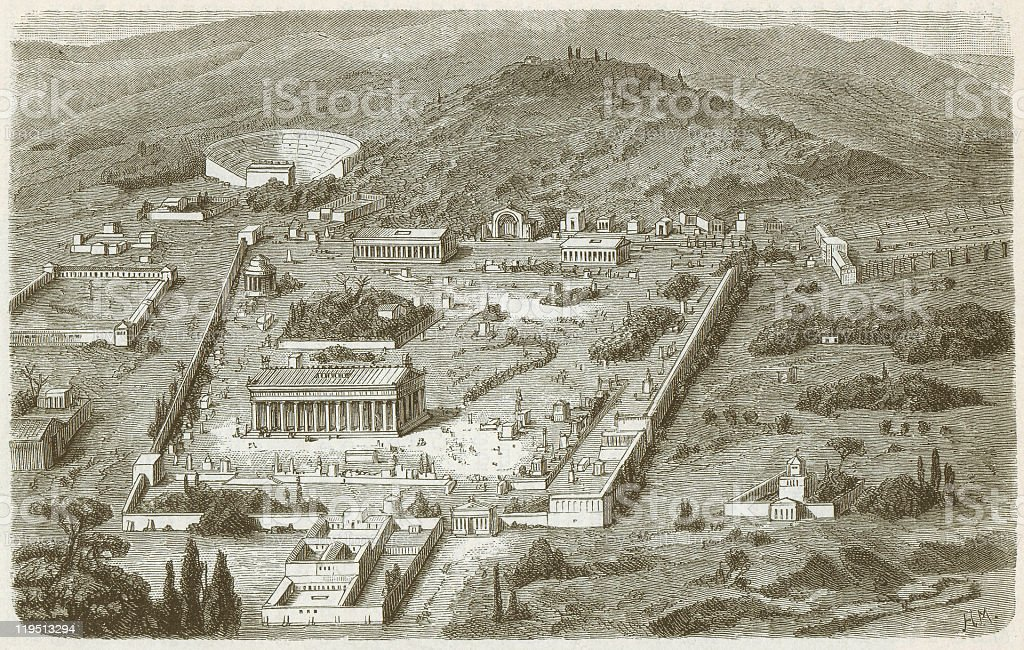 Olympia, Place of the Ancient Olympic Games, published in 1882 vector art illustration