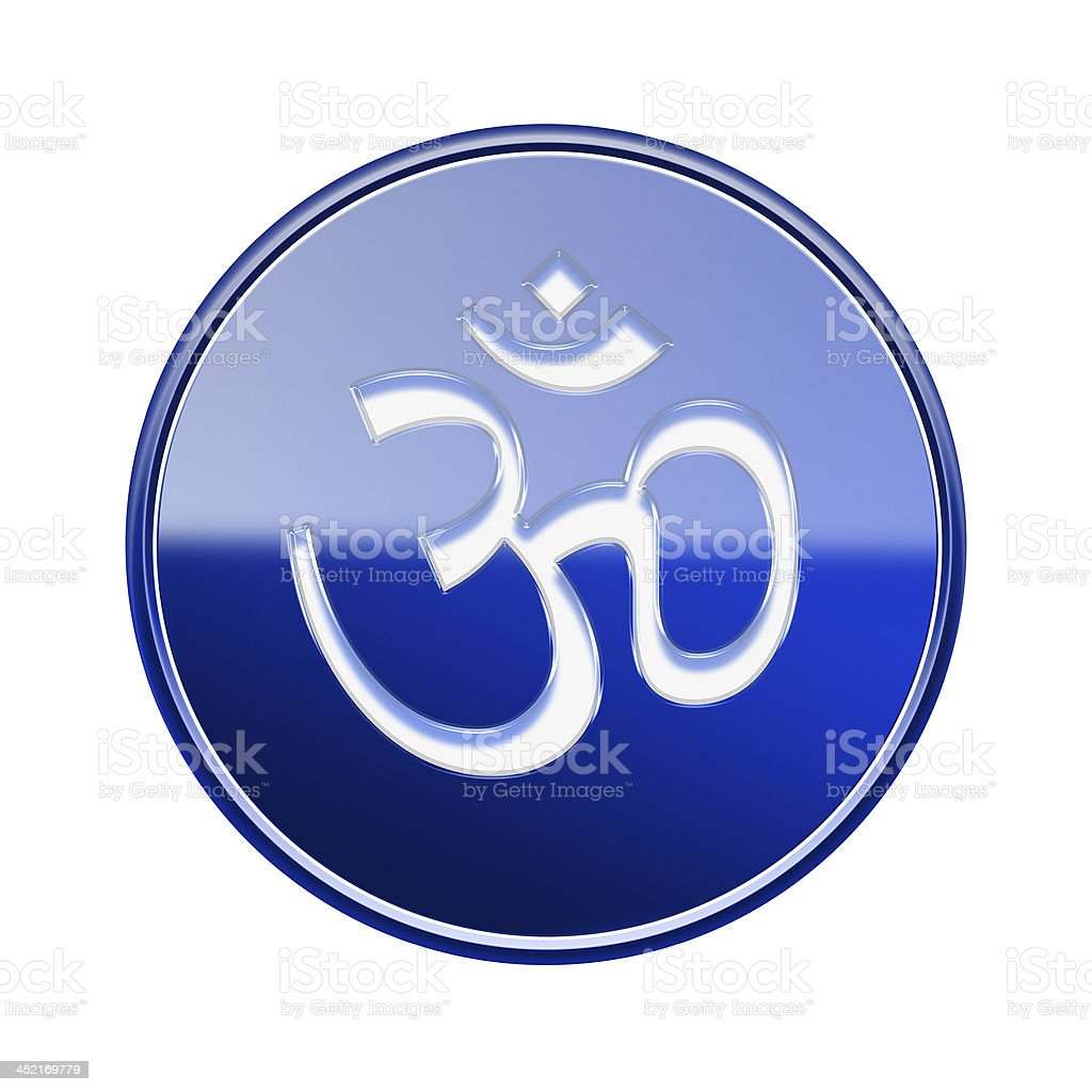Om Symbol icon glossy blue, isolated on white background. royalty-free stock vector art