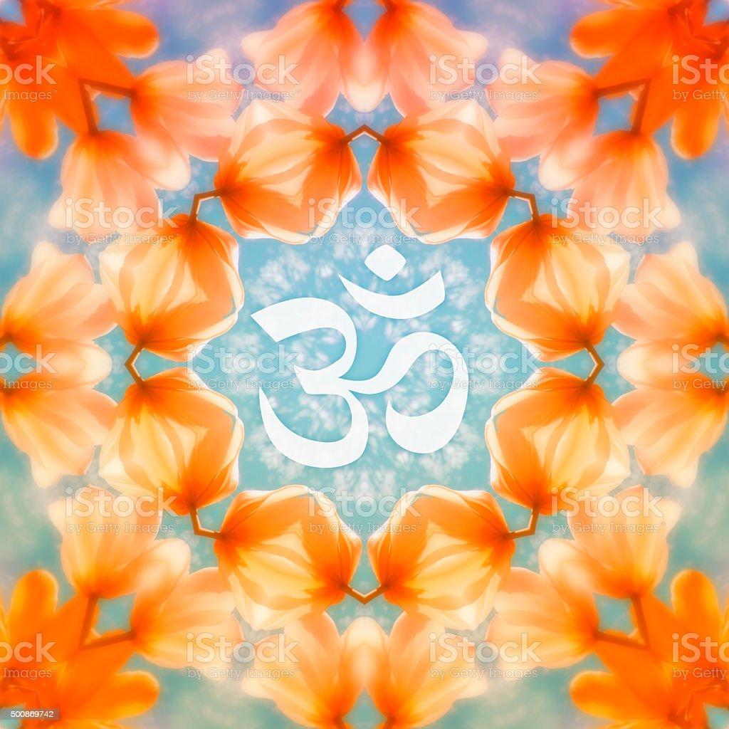 Om symbol on a kaleidoscopic flower mandala vector art illustration
