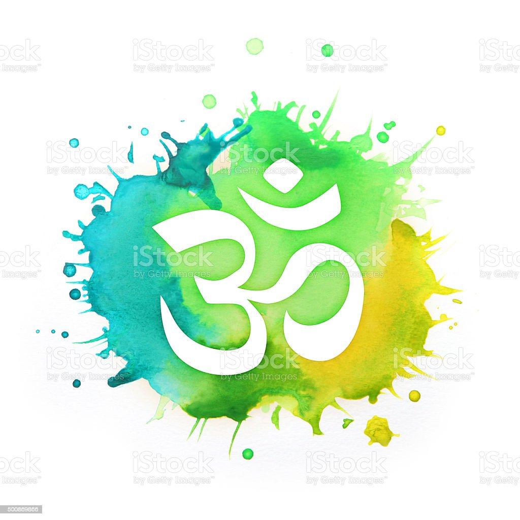 Om symbol on a splash of green and blue colors vector art illustration