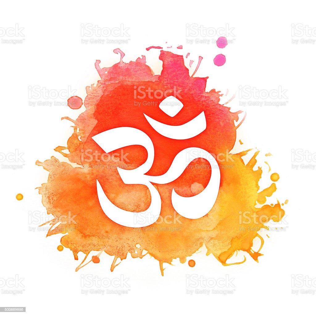 Om symbol on a splash of red and orange watercolors vector art illustration