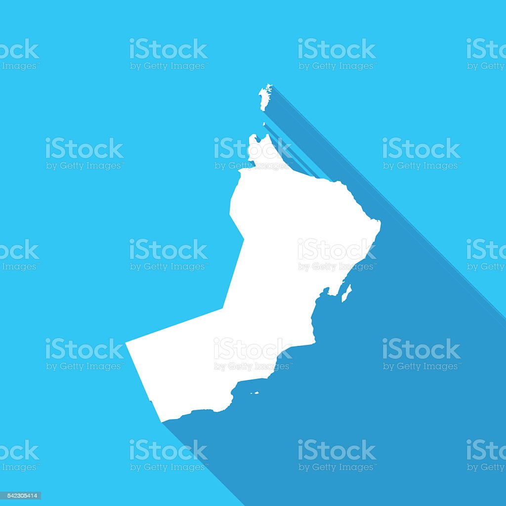 Oman long shadow map in white on a blue background vector art illustration