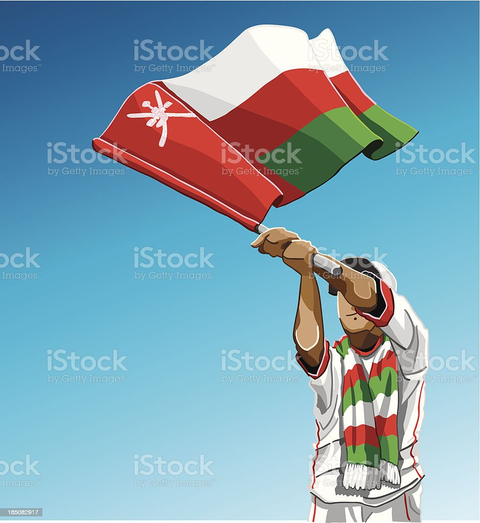 Oman Waving Flag Soccer Fan vector art illustration