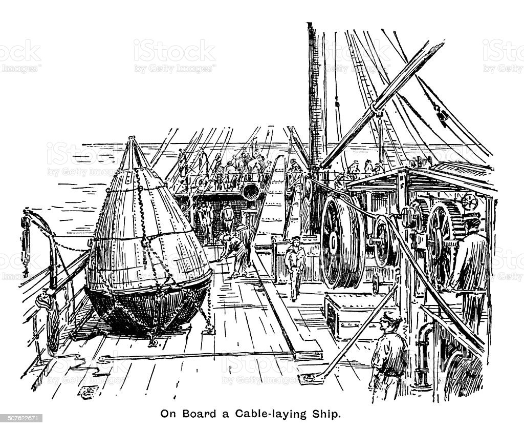 On board a Victorian cable-laying ship vector art illustration