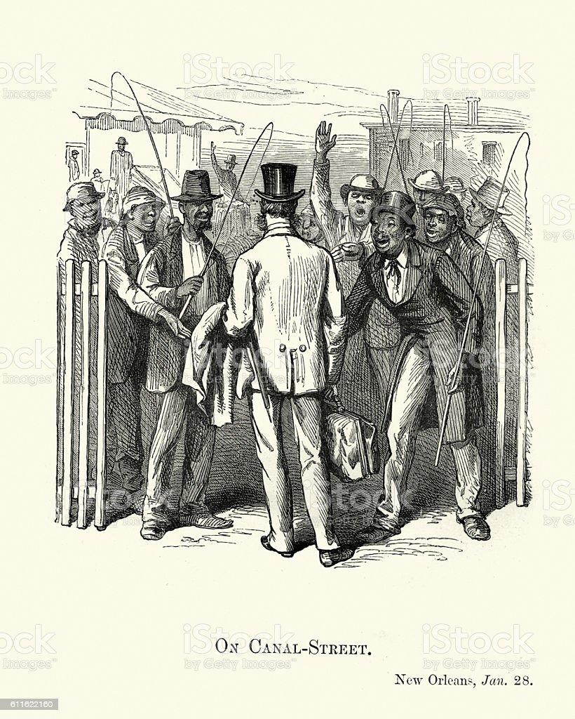On Canal Street, New Orleans, 1882 vector art illustration