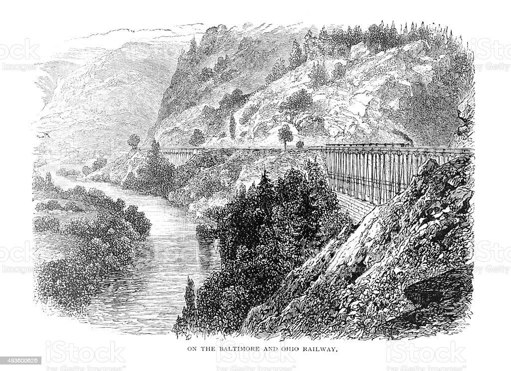 On The Baltimore And Ohio Railway vector art illustration