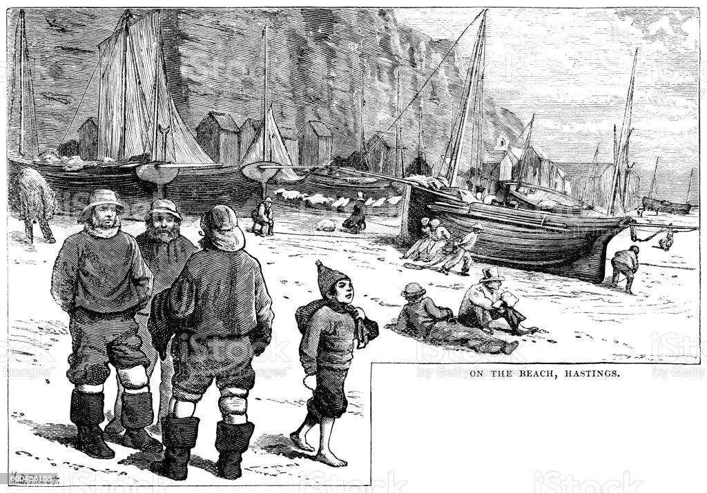 On the beach in Hastings, Sussex (Victorian engraving) vector art illustration
