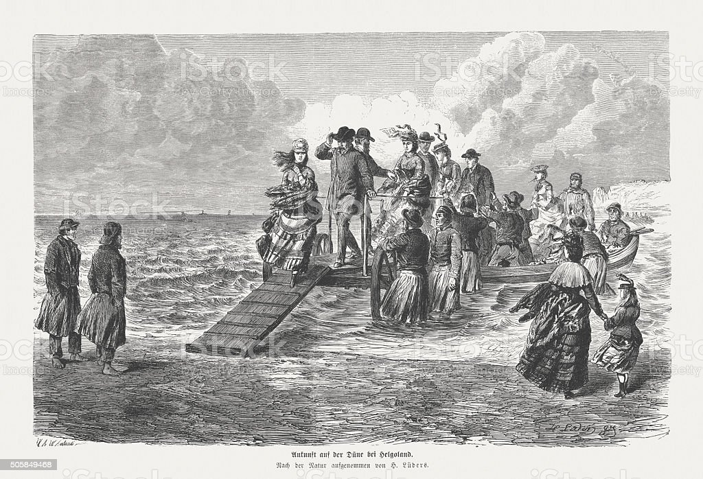 On the Dune at Helgoland, wood engraving, published in 1873 vector art illustration