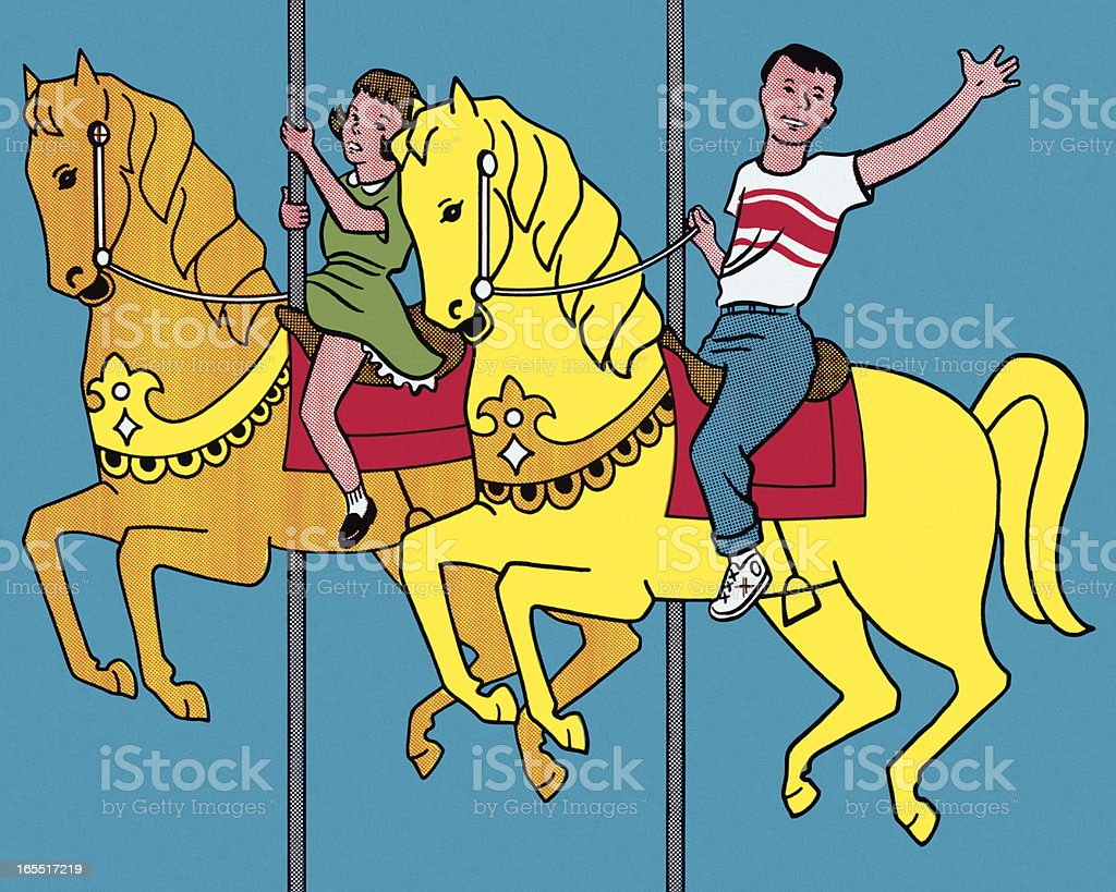 On the Merry Go Round Horses royalty-free stock vector art