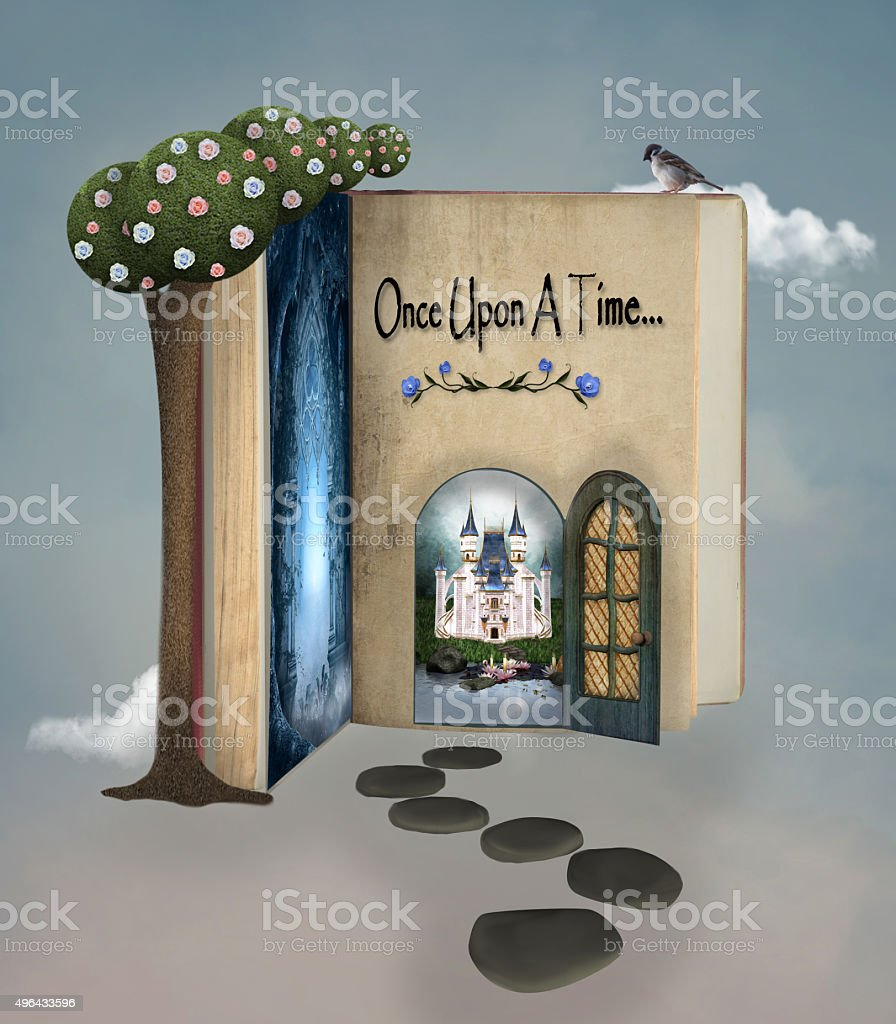 Once upon a time book vector art illustration