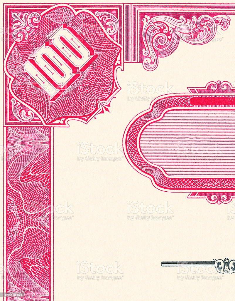 One Hundred Note Certificate vector art illustration
