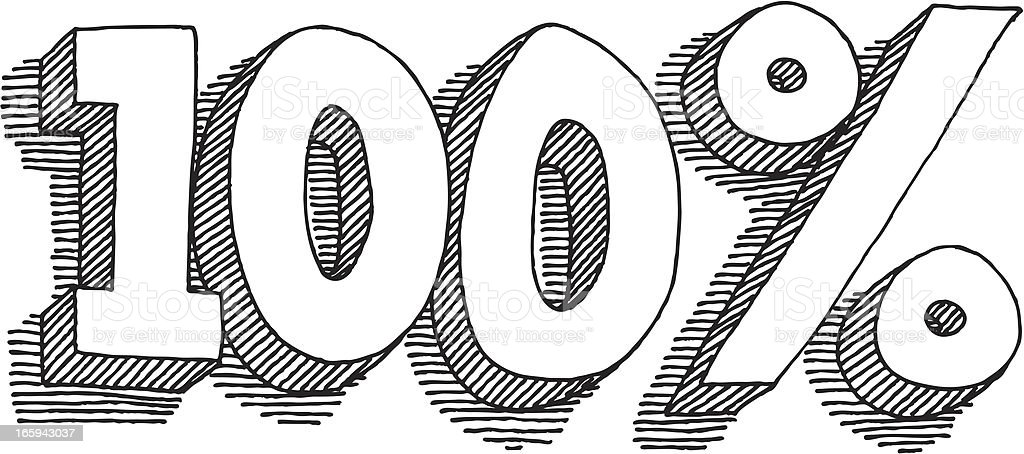 One Hundred Percent Lettering Drawing royalty-free stock vector art