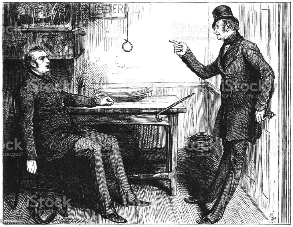 One Victorian man complaining to another man vector art illustration