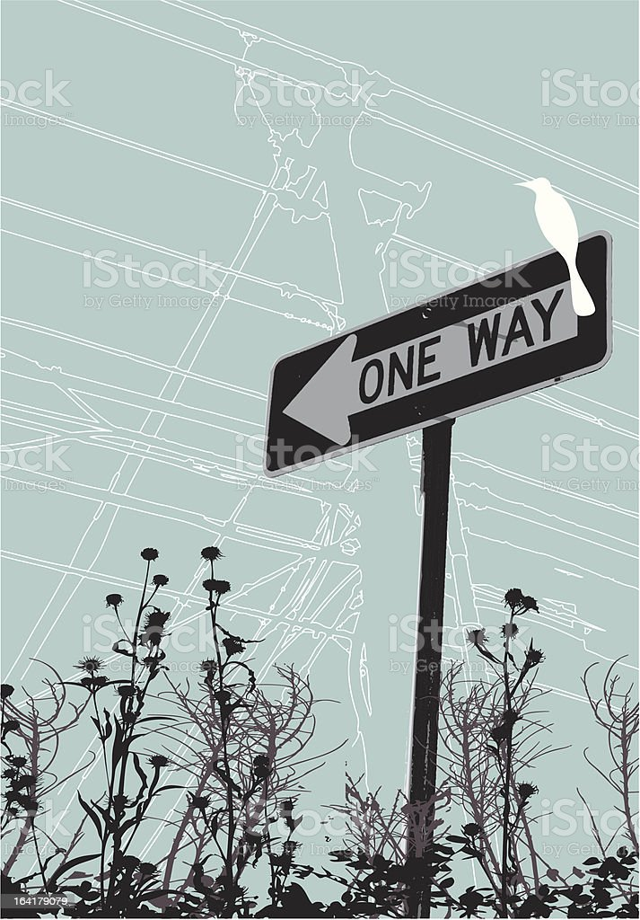 One Way Bird vector art illustration