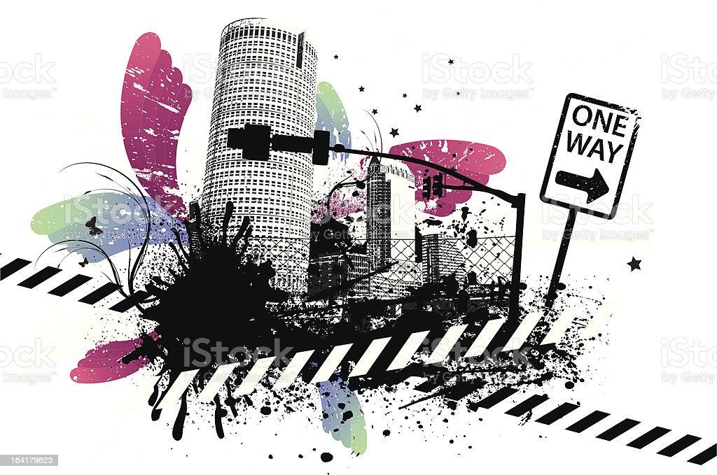 One Way Grunge Swirl City royalty-free stock vector art
