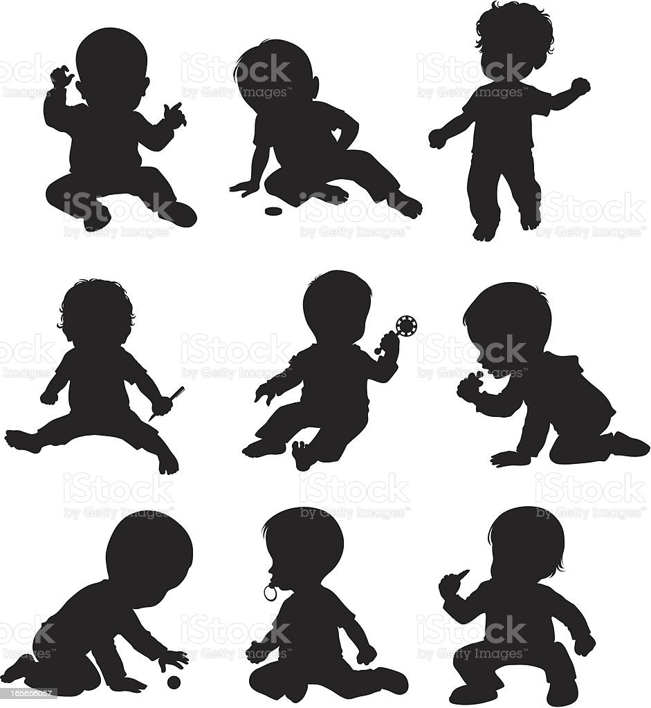 One year old baby (Drawn in cartoon style) vector art illustration