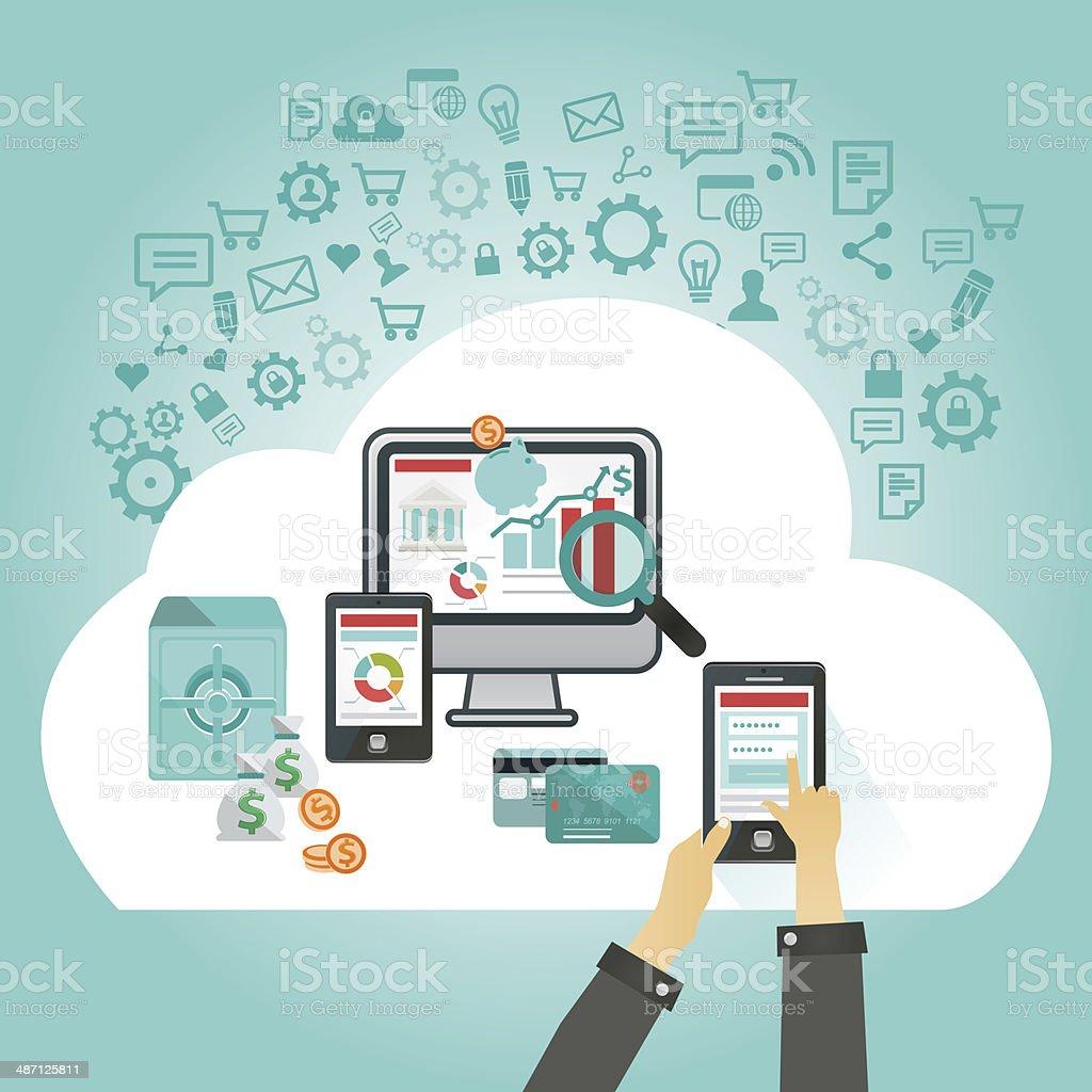 online banking on multiple devices vector art illustration