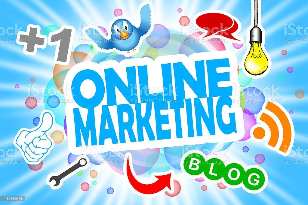 Online Marketing vector art illustration