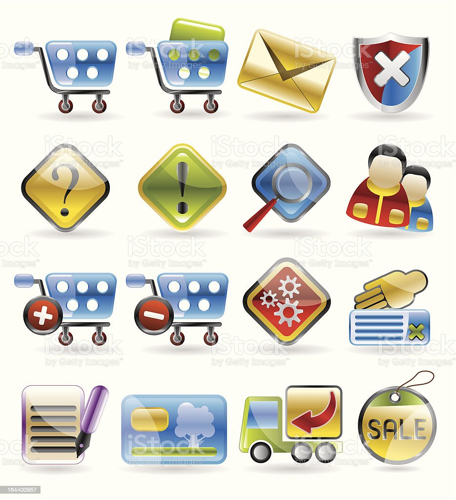 Online Shop Icons royalty-free stock vector art