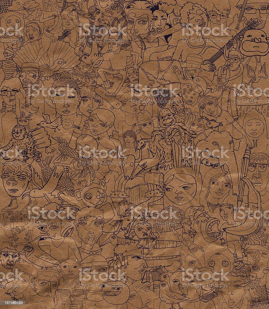 Oodles of Doodles on a Paper Bag vector art illustration