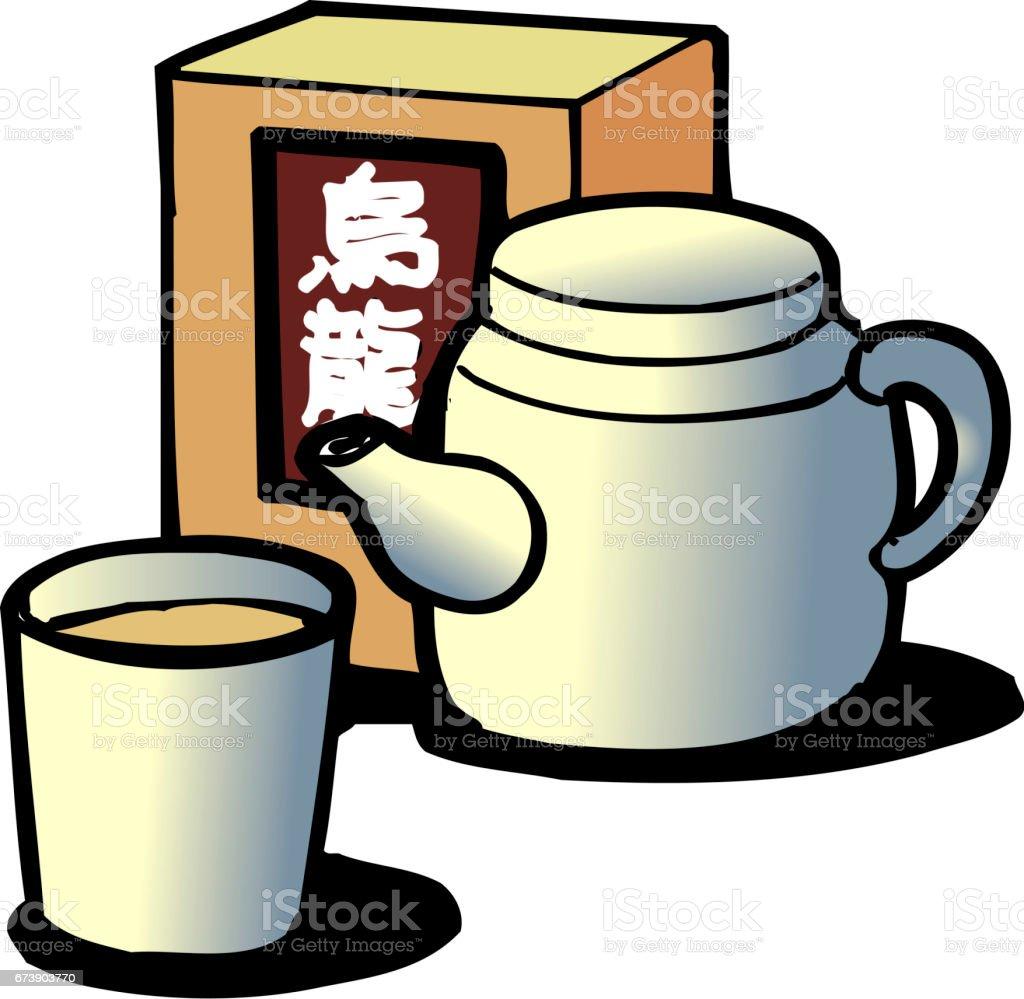 Oolong tea vector art illustration