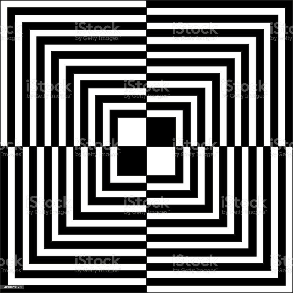 Op art illustration of black and white squares vector art illustration