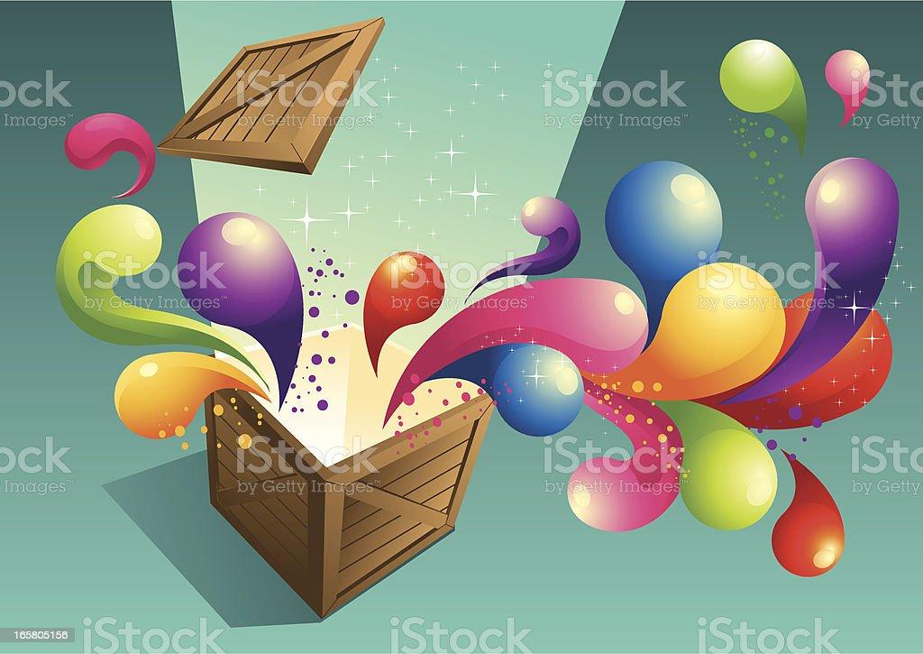 Opeb Box Surprise vector art illustration