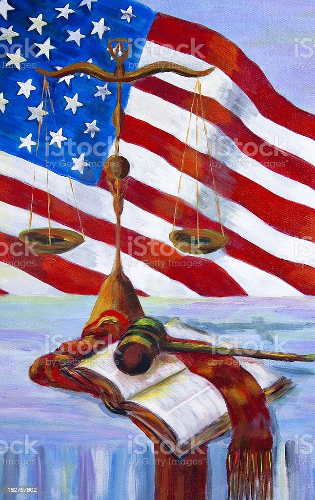 Open Bible, Gavel and Scales of Justice with American Flag. royalty-free stock vector art