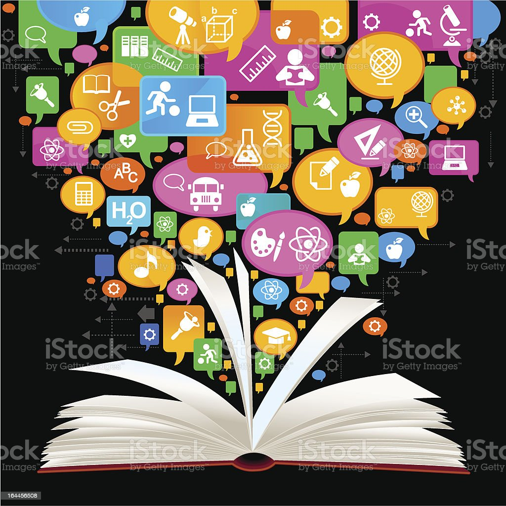 Open book with speech bubble vector images royalty-free stock vector art