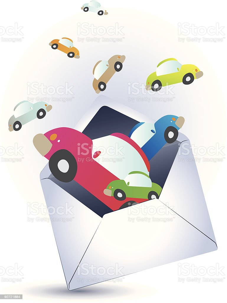 Open envelope and floating cars royalty-free stock vector art