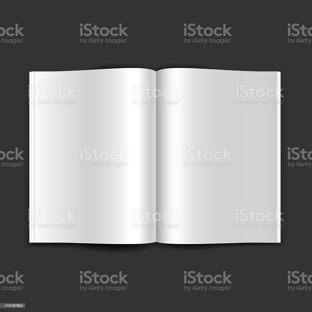 Open magazine double-page spread with blank pages vector art illustration