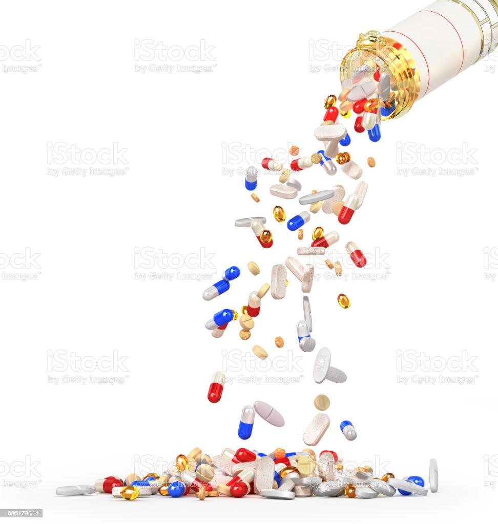 Open Pills Bottle with falling pills isolated on white background. 3d illustration vector art illustration
