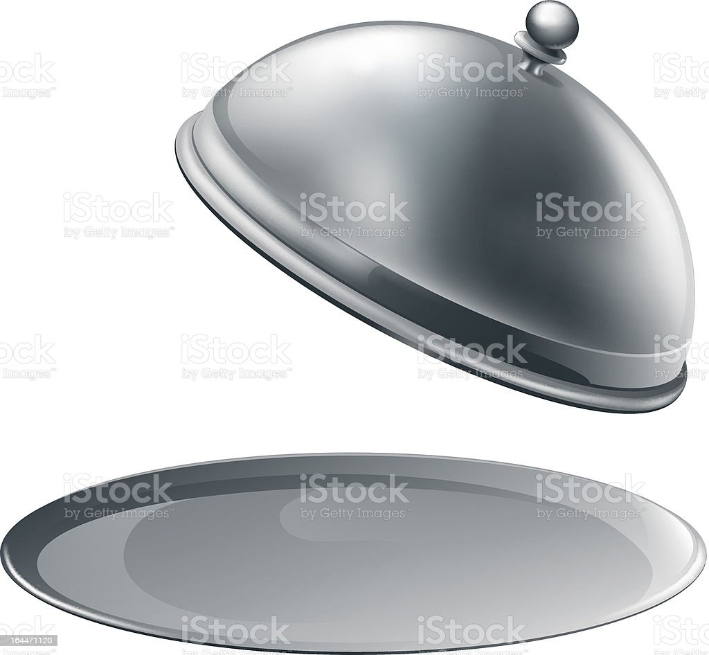 Open silver platter royalty-free stock vector art