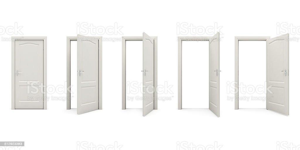 Open white door vector art illustration
