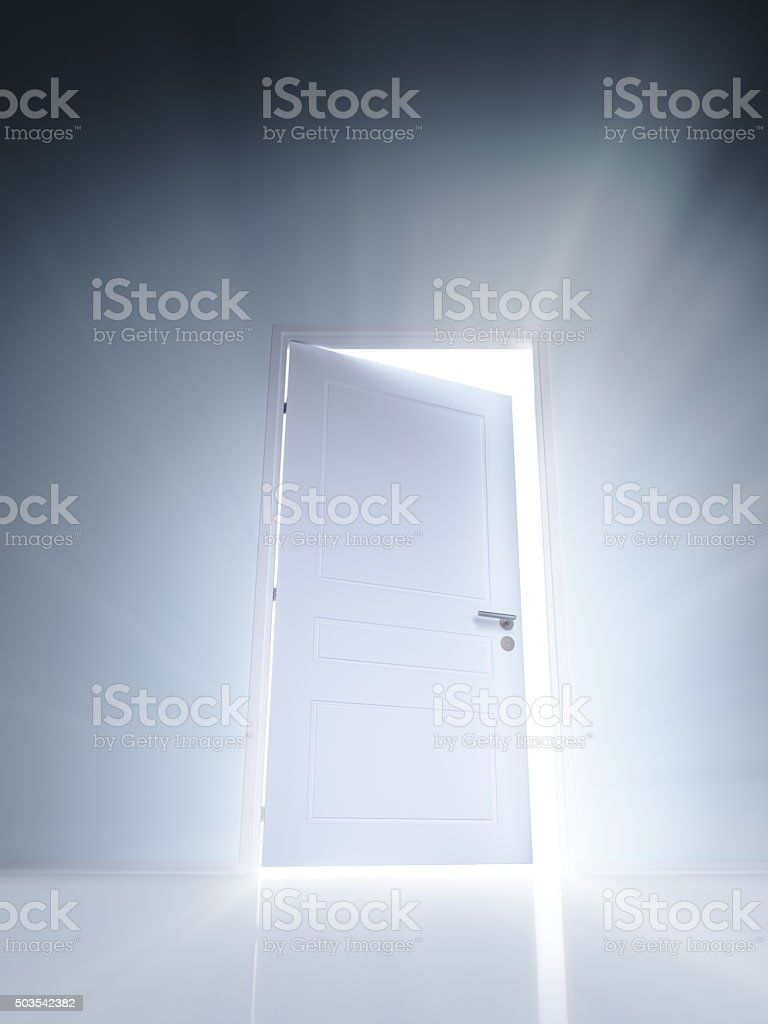Open white door with rays of light on blue wall vector art illustration