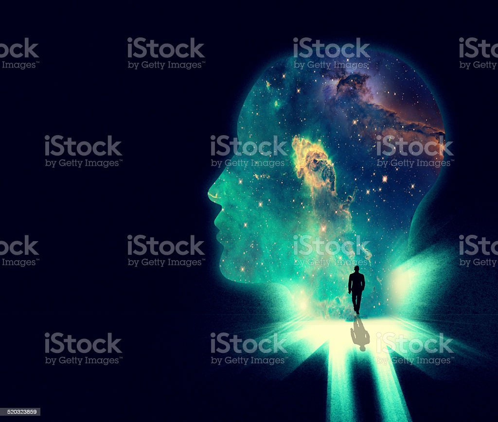 Open your mind the the wonders of the universe vector art illustration