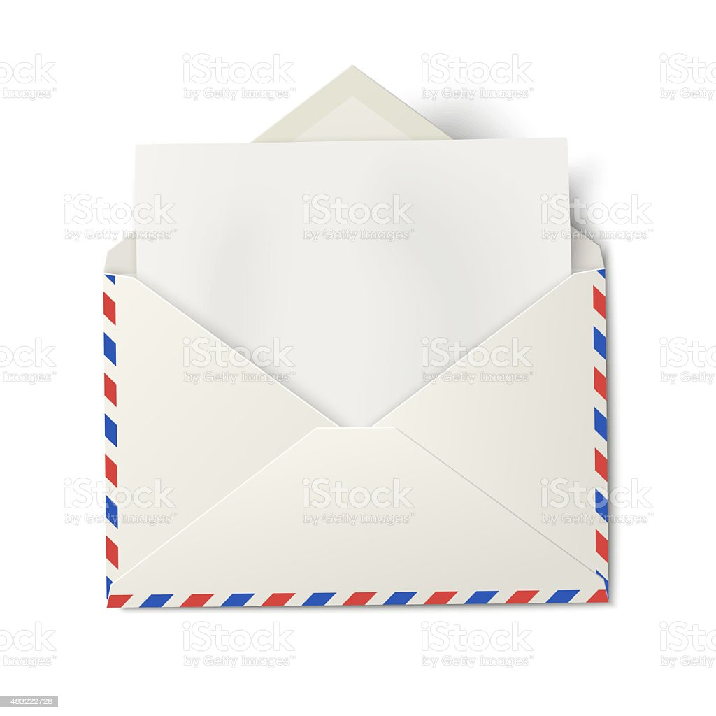Opened air mail envelope with white paper inside isolated vector art illustration