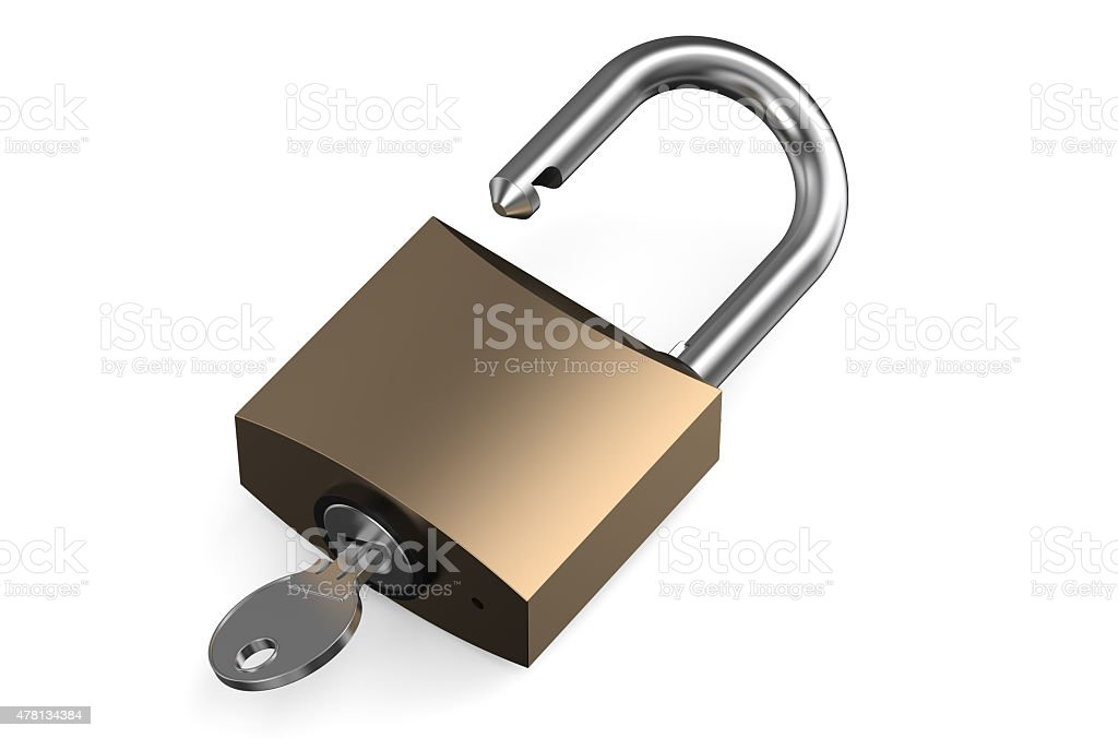 opened lock with key vector art illustration