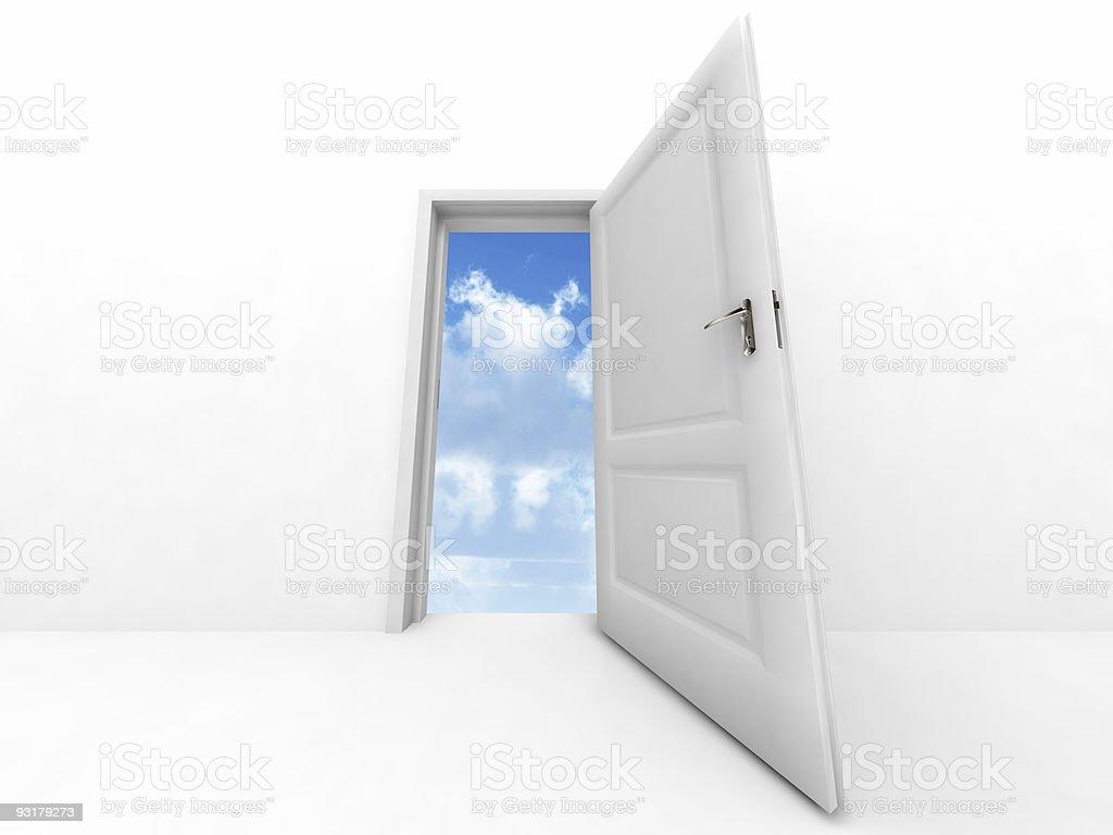 opened to sky door vector art illustration