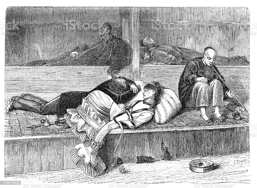 Opium Den vector art illustration