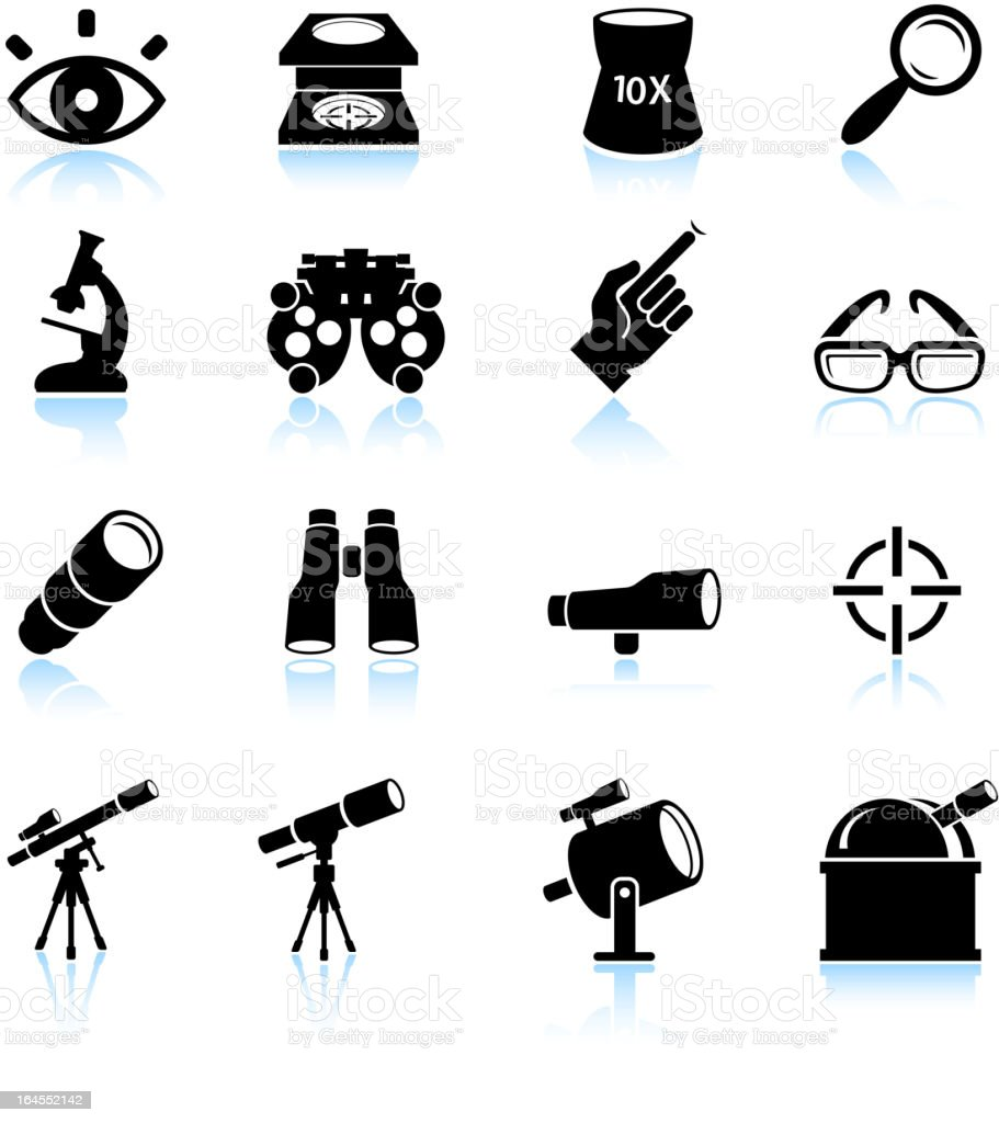 Optical instruments black and white royalty free vector icon set vector art illustration