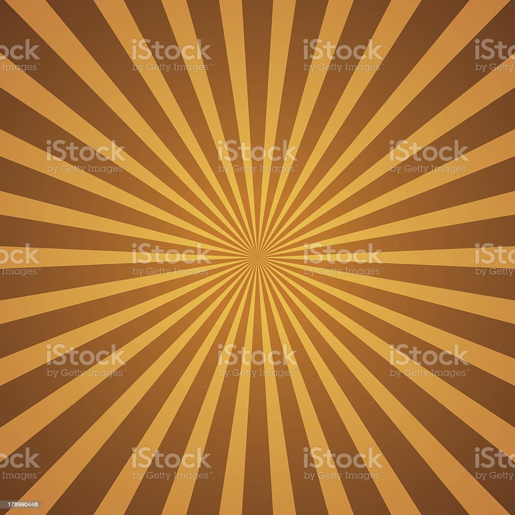 Optical yellow and brown vintage rays background vector art illustration